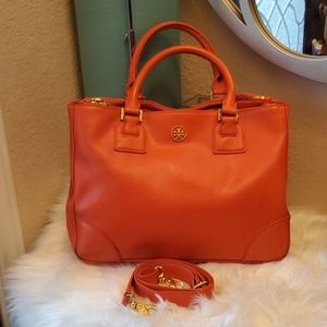 TORY BURCH Robinson Double Zip Orange Saffiano